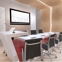 Interior design, 3d visualization and rendering of meeting room and reception area for the Hamdan Innovation Incubator - HI2 - Dubai SME Business Village (Dubai, United Arab Emirates)