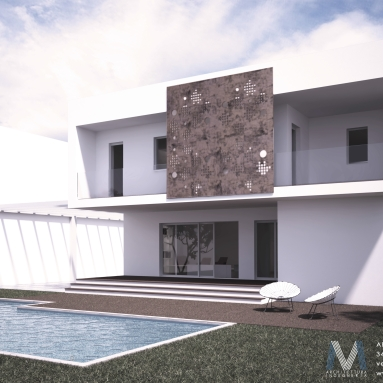 Final rendering of private structural wood-house - Villa C (Cagliari, Italy)