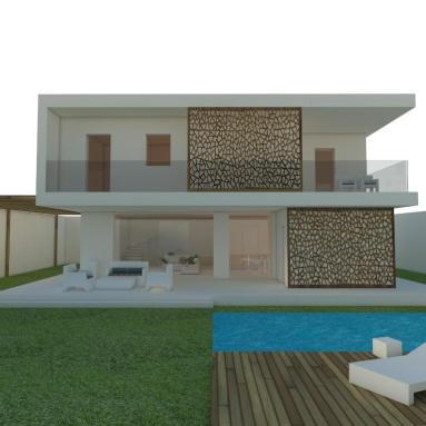 Design, 3d visualization and rendering of private structural wood-house - Villa C (Cagliari, Italy)